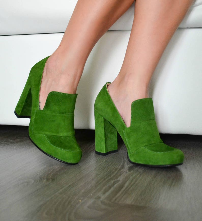 263eb28152fed Kendra - Women's Green Suede High Heel Loafer Shoes, Genuine Leather Pump,  Bright Fall Shoes, Booties, Handmade Shoes, Free Customization