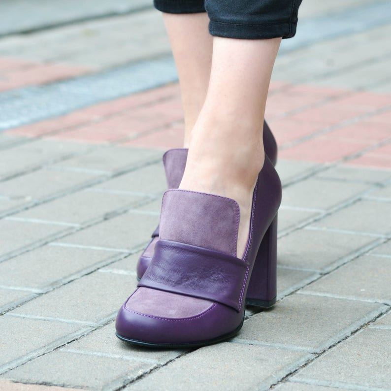 805fa4a47ab28 Kendra - Women's Purple Suede High Heel Loafer Shoes, Genuine Leather  Pumps, Fashion Shoes, Handmade Shoes, Fall Booties, Free Customization