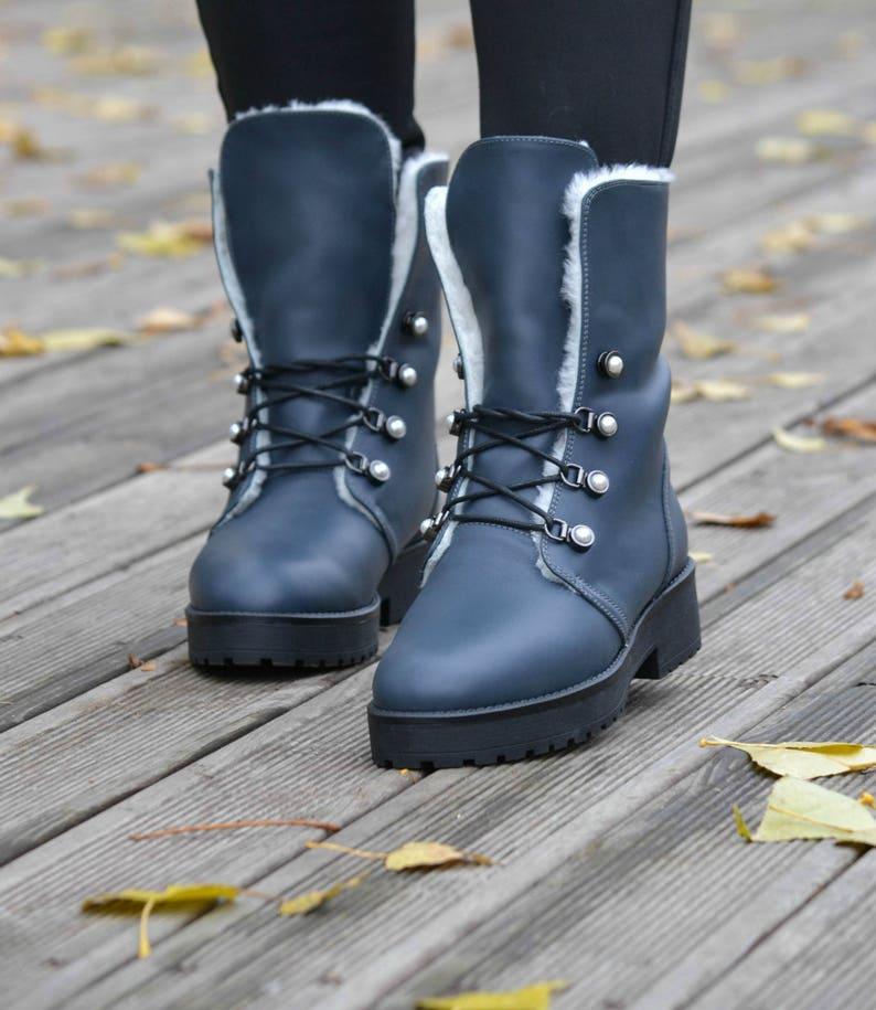 e9fae8eeef3 MIA - Women's Handmade Genuine Leather Fur Lined Lace-Up Combat Boots,  Fashion Gray Shoe, Winter Shoe, Fall Boot, Free Customization