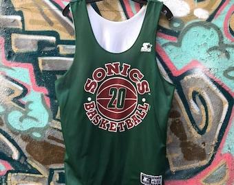 VTG Starter Reversible Seattle Supersonics Basketball Jersey Vintage 1990s