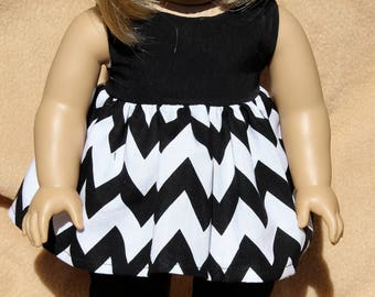 Black and White Chevron Long Shirt with Capris-Made to fit 18 inch Dolls like American Girl Doll Clothes