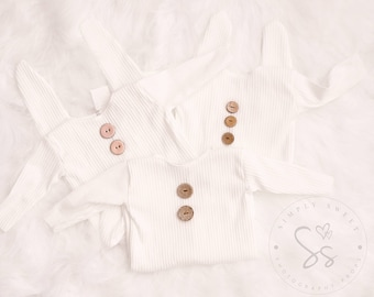Baby newborn Long Sleeve Rompers in creme  with natural coconut buttons