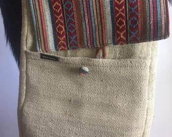 Vintage Cotton Hemp laptop Bag
