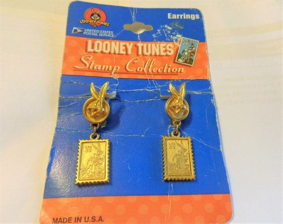 Made in USA NEW Looney Tunes USPS Stamp Collection Bugs Bunny PIerced Earrings