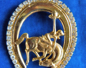 Large Gold Tone Horseshoe Pin Brooch with Rhinestones and Bronc Rider on Bucking Horse