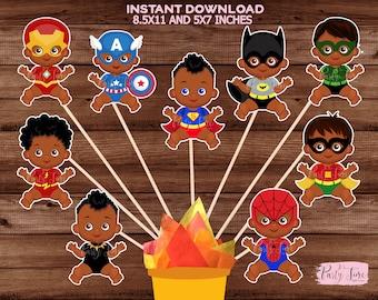 African American Superhero Baby Shower African American Superhero Baby Centerpiece Centerpiece