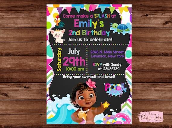 Moana Pool Party Invitation