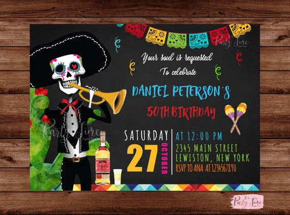 Skull Invitation Halloween Party Day Of The