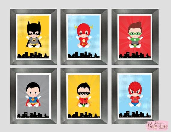 Superhero wall art - superhero bedroom decor - Dorm Wall Art - Art print -  Wall Decorations - Superhero baby - Instant Download