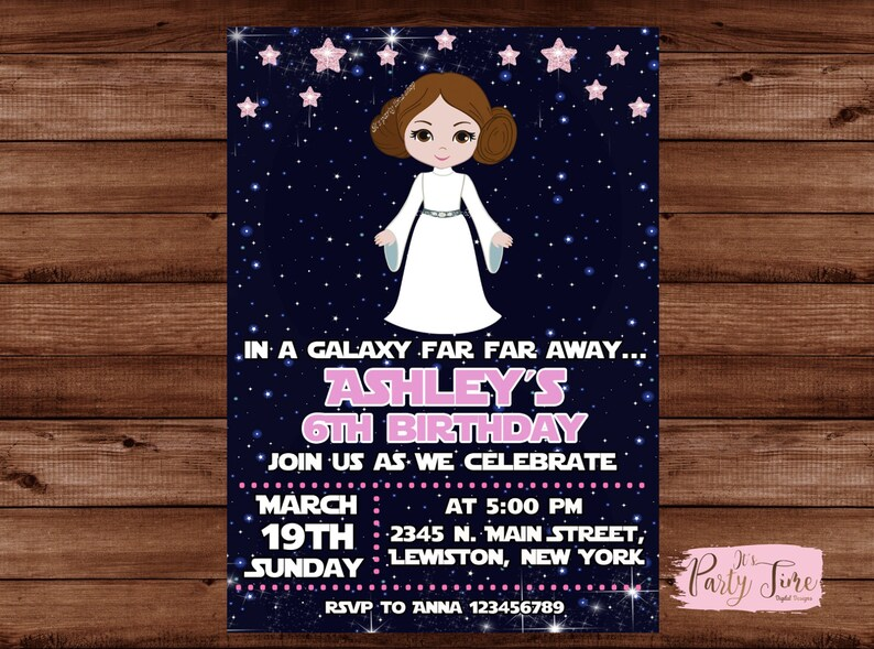 Star Wars Invitation Star Wars Invite Princess Leia Star