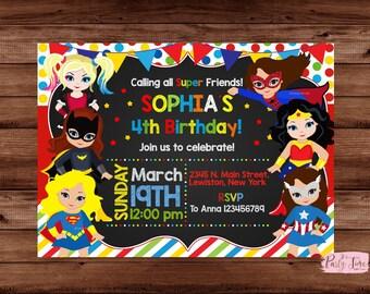 Supergirl Invitation - Supergirl Invite - Supergirl Birthday Invitation - Girl Birthday Invitation - Superhero Invitation - DIGITAL FILE