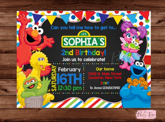 Sesame Street Invitation Birthday