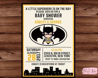 Batman baby shower invitation - Superhero Baby Shower Invitation - boy baby shower batman announcement - DIGITAL FILE
