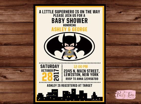 Batman Baby Shower Invitation Superhero Baby Shower Etsy