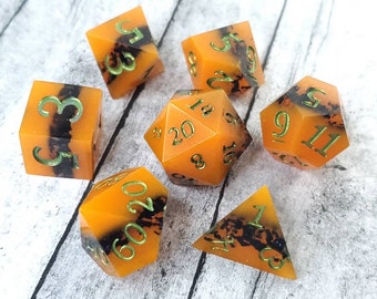 Pumpkin Ore: 7-Piece Handmade Polyhedral Dice Set