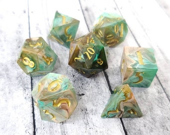 Rumbling Hills: 7-Piece Handmade Polyhedral Dice Set