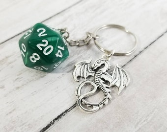 D20 Keychains with Optional Charm