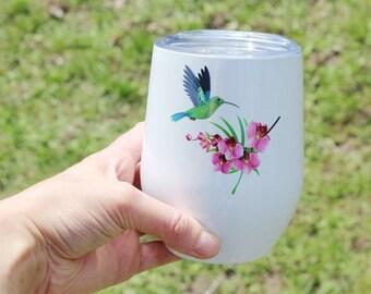 """Colibri and Orchid"" wine glass, gift for teacher, teacher, aunt, granny, mom"
