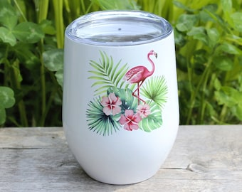 """Insulating wine glass """"Pink flamingo and topical flowers"""""""
