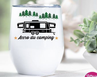 """""""Camping Accro"""" wine glass, Gift for campers"""
