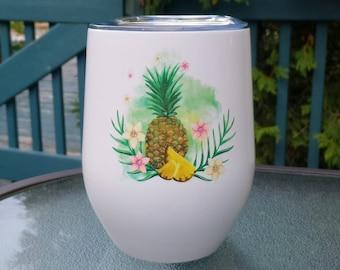 "Insulating wine glass ""Tropical Pineapple"""