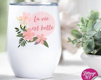 "Wine glass ""Life is beautiful"", gift for teacher, educator"