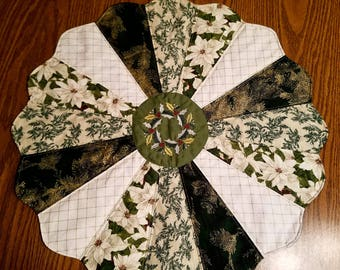 Huge 26 Inch Winter/Christmas Table Topper/Centerpiece/Cotton Quilted/Reversible/Embroidered/Gold Winter Greens/Home and Living/Pine Needles