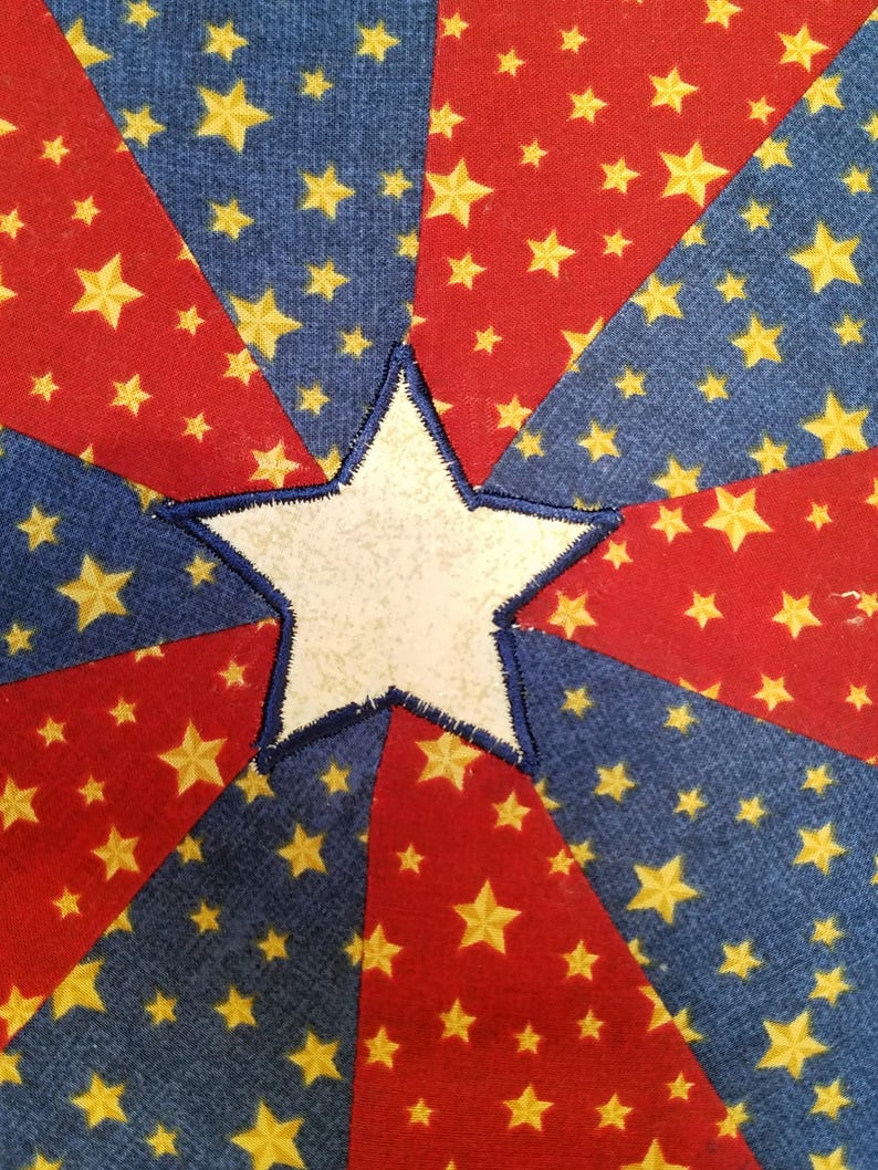Patriotic Country Star Table TopperCenterpieceCottonQuiltedGold StarsRed and BlueKitchen UseHostess GiftSummer HolidaysOutdoor Use