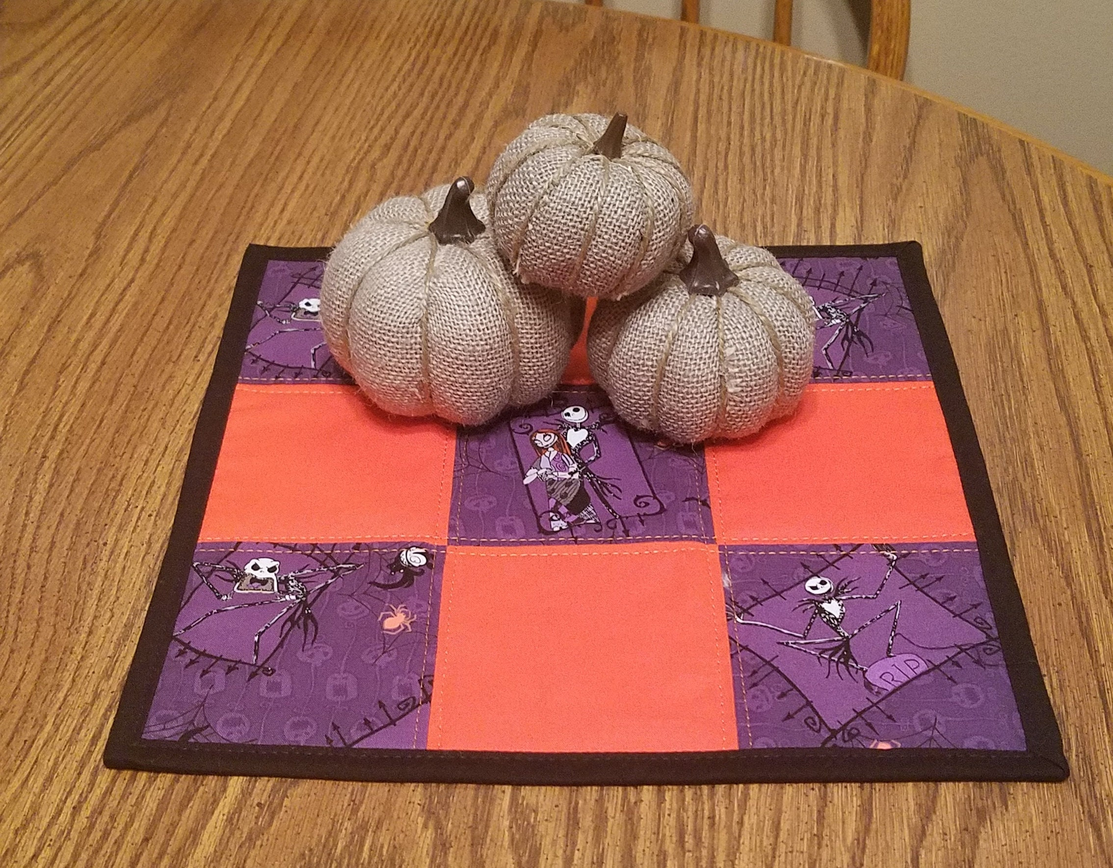 Square Halloween Nightmare Before Christmas Table Topper Centerpiece Candle Mat Purple Black Orange 12 1 2 Inch Home Decor Gift Embroidered