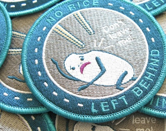No Rice Left Behind Sticker Embroidered Patch