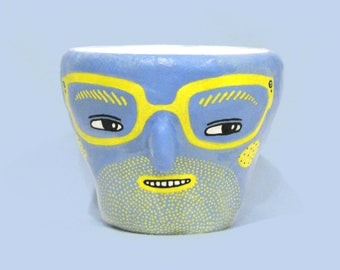 "Handmade Rainbow Character Pot | Blue and Yellow Dude | ""McGuire"""