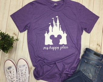 57396935509 Disney Castle shirt matching family My Happy Place tee t-shirt top