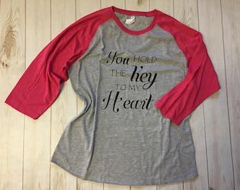 You hold the Key to my Heart Mom Baseball Raglan Shirt