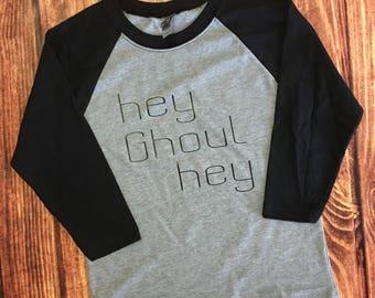 Hey Ghoul Boys Halloween Baseball Raglan shirt