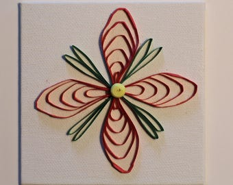 Quilled Red and Green Flower