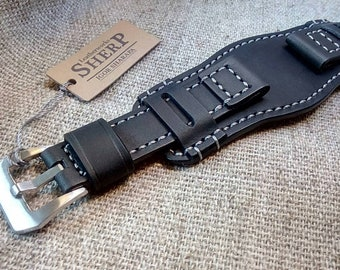 db1c88f32 Genuine leather bund STRAP handmade vintage style.Black leather.Grey thread.