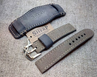 bedef7d2e 20,22mm.MILITARY Vintage style Handmade cuff bracelet band.Leather and  canvas watch strap.