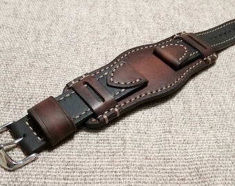 2ce9c50093a Genuine leather bund STRAP handmade vintage style.Specially aged.Black and  brown.