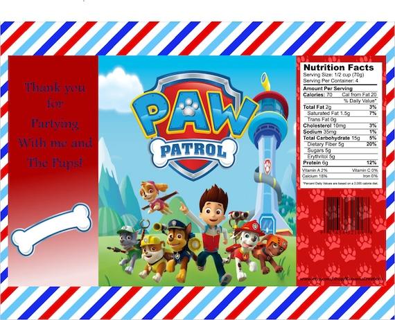 Skye Printable Paw Patrol Custom Favor Bags Digital- Download Party Custom Chip Bags Decorations Everest Birthday