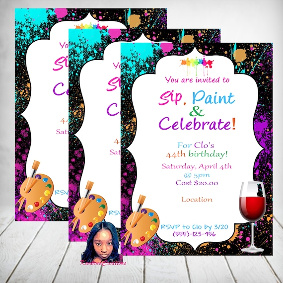 Paint Sip And Celebrate Invitations Birthday And Paintwine Etsy