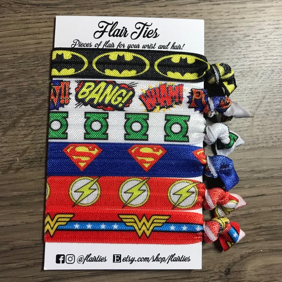 Justice League Characters Comic Inspired No Crease Hair Ties  15244d759af