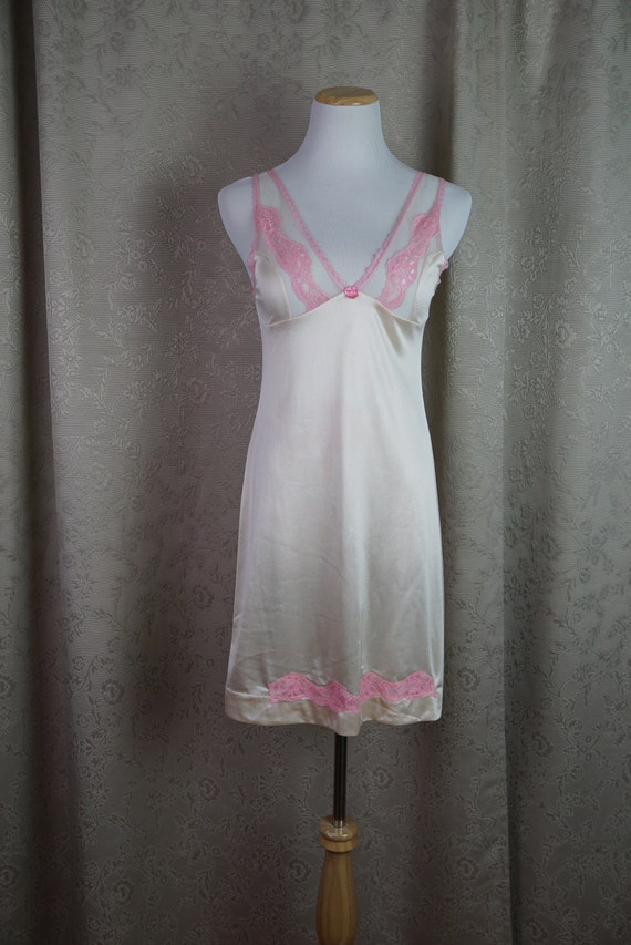 1cf6a5c61b Vintage Nude and Pink Nightgown Size S  80s Lingerie