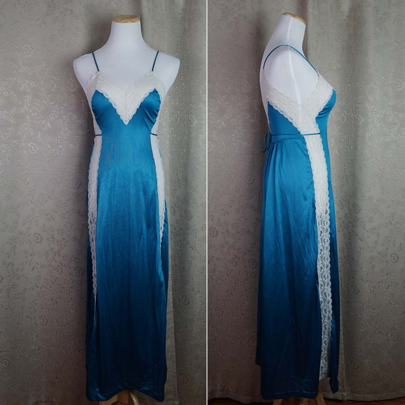 6768690a03 Vintage Teal Nightgown Size S Gossard Artemis  80s