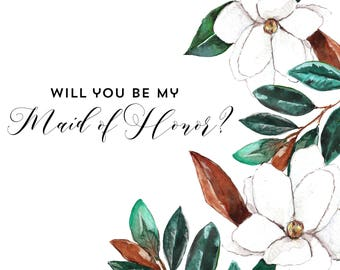 Magnolia Blooms Maid of Honor Card