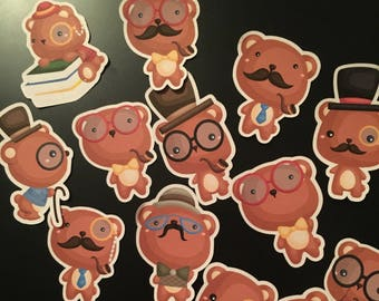 Hipster bear stickers