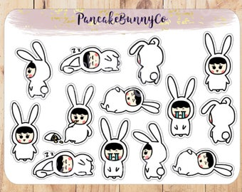Bunny girl stickers planner