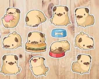 Pug dog stickers