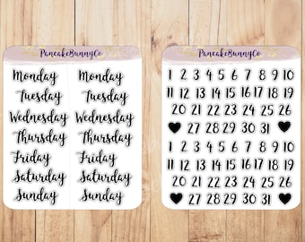 Day and Date Planner stickers