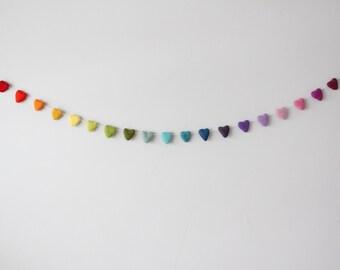 Pastel rainbow felt heart garland, Nursery felt heart garland, Rainbow wedding garland, Valentine's Day rainbow garland