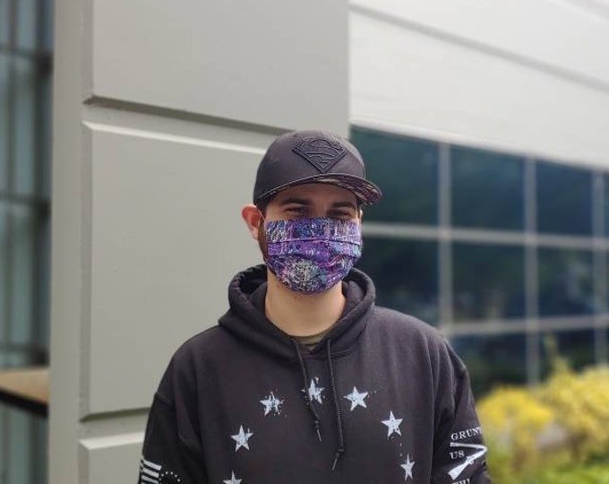Purple Paint Splatter  Mask 100% Premium Cotton with filter pocket on reverse side